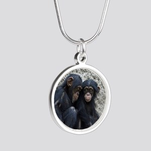 Chimpanzee002 Silver Round Necklace
