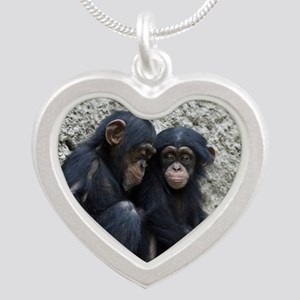 Chimpanzee002 Silver Heart Necklace