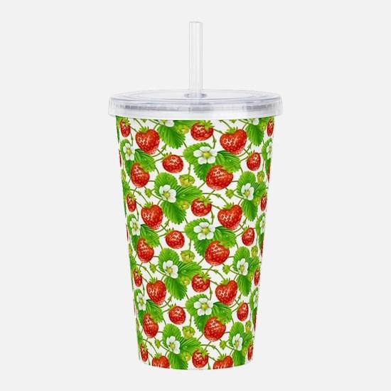 Strawberry Pattern Acrylic Double-wall Tumbler