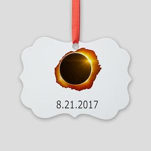 total eclipse Picture Ornament