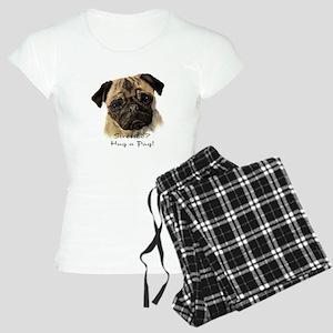 Stressed? Hug a Pug! Fun Dog Pet Quote pajamas