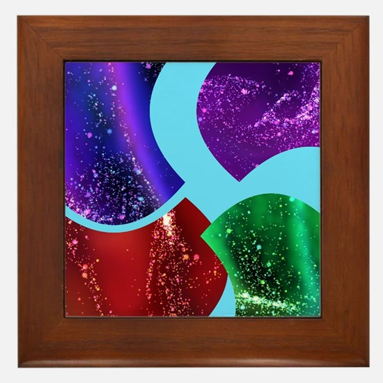 Collage, colorful Fluid, abstract Framed Tile