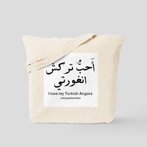 Turkish Angora Cat Calligraphy Tote Bag