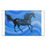 black horse on blue Sticker