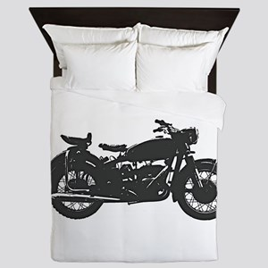 Vintage Motorcycle Queen Duvet