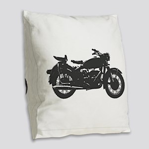 Vintage Motorcycle Burlap Throw Pillow