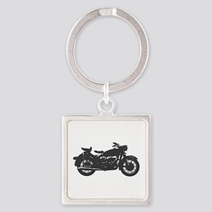 Vintage Motorcycle Square Keychain