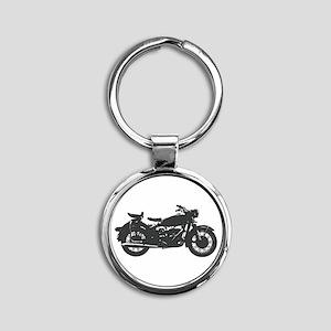 Vintage Motorcycle Round Keychain