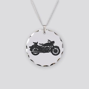 Vintage Motorcycle Necklace Circle Charm