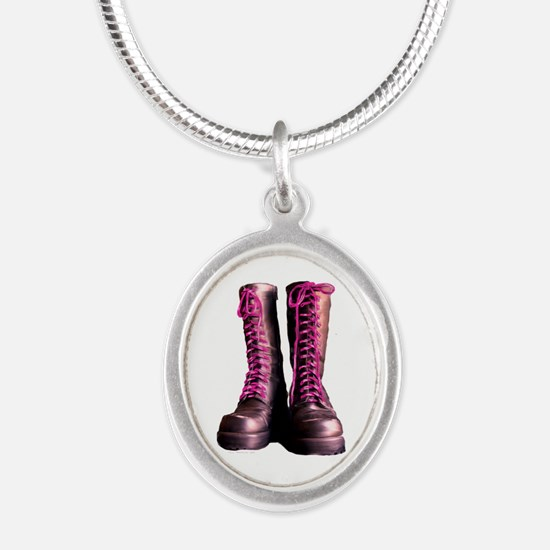 Pink Laces Silver Oval Necklace