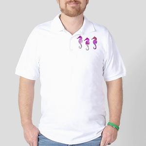 Three Pink Watercolor Seahorses Golf Shirt