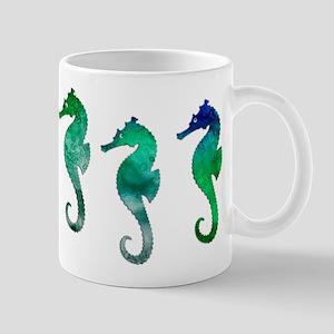 Three Dark Green Watercolor Seahorses Mugs