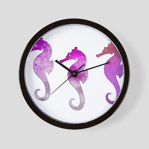 Three Pink Watercolor Seahorses Wall Clock