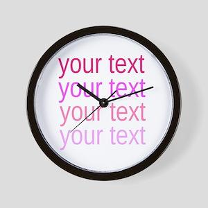 shades of pink text Wall Clock