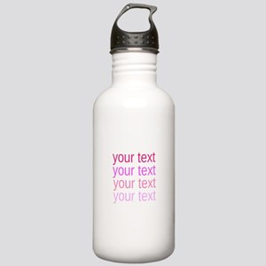 shades of pink text Water Bottle