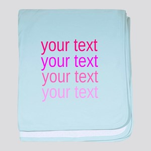 shades of pink text baby blanket