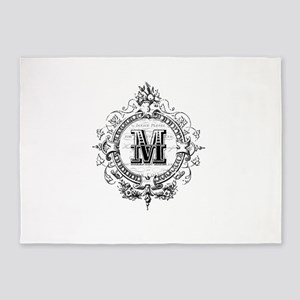 Modern Vintage French monogram letter M 5'x7'Area