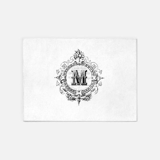 Modern Vintage French monogram letter M 5'x7'Area