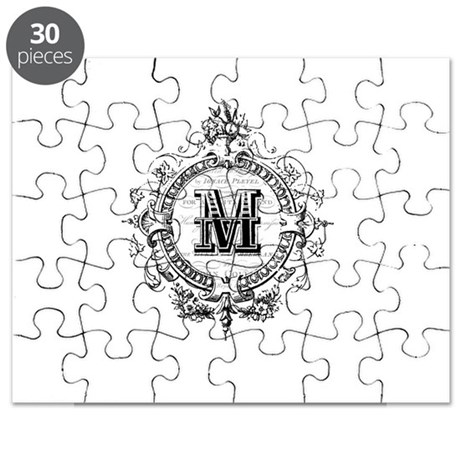 Modern Vintage French monogram letter M Puzzle by