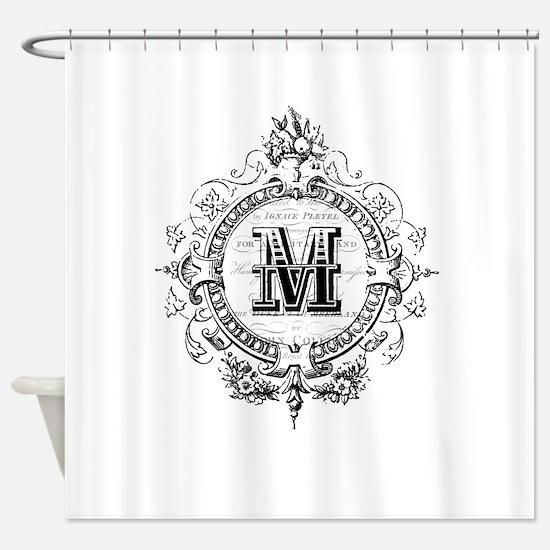 Modern Vintage French monogram letter M Shower Cur