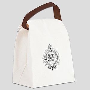 modern vintage monogram letter N Canvas Lunch Bag