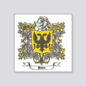 "Brown Family Crest 1 Square Sticker 3"" x 3"""