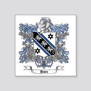 "Brown Family Crest 4 Square Sticker 3"" x 3"""