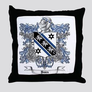 Brown Family Crest 4 Throw Pillow