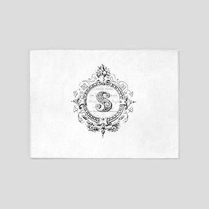 modern vintage monogram letter S 5'x7'Area Rug
