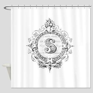 modern vintage monogram letter S Shower Curtain