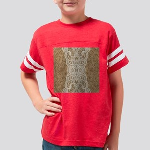 shabby chic burlap lace Youth Football Shirt