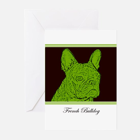 French Bulldog Rec (Green) Greeting Cards (Package