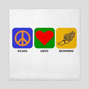 Peace Love Running Queen Duvet
