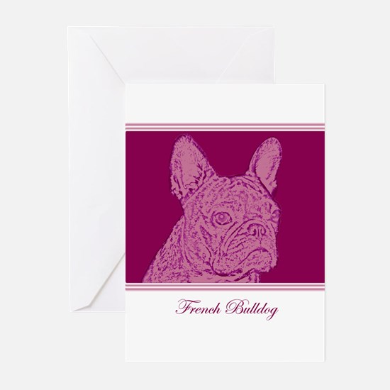 French Bulldog Rec (purple) Greeting Cards (Packag