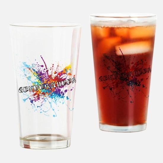 Rainbow Splash Genderqueer Drinking Glass
