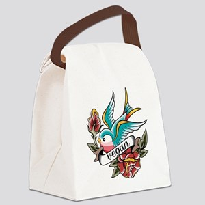 vegan tattoo design Canvas Lunch Bag