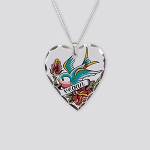 vegan tattoo design Necklace Heart Charm