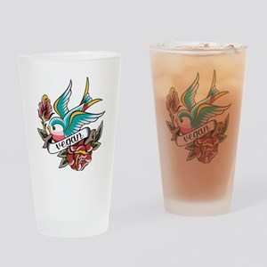 vegan tattoo design Drinking Glass