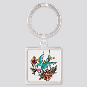 vegan tattoo design Square Keychain