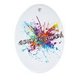 Rainbow Splash Genderqueer Ornament (Oval)