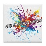Rainbow Splash Genderqueer Tile Coaster