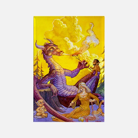 Dragon Cookout Rectangle Magnet