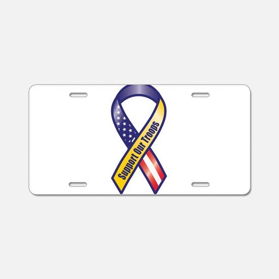 Support Our Troops - Ribbon Aluminum License Plate