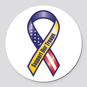 Support Our Troops - Ribbon Round Car Magnet