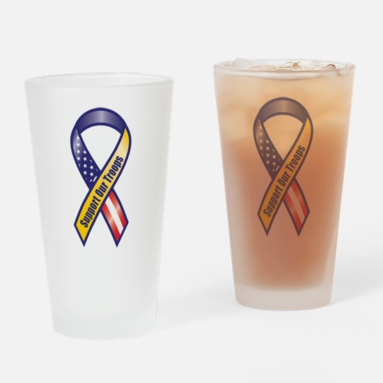 Support Our Troops - Ribbon Drinking Glass