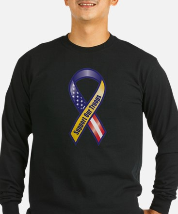 Support Our Troops - Ribbon Long Sleeve T-Shirt