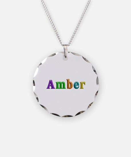 Amber Shiny Colors Necklace Circle Charm