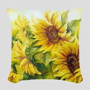 Sunflowers Oil Painting Woven Throw Pillow