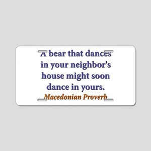 A Bear That Dances Aluminum License Plate