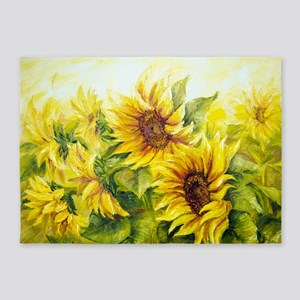 Sunflowers Oil Painting 5'x7'Area Rug